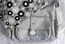 Декор сумки в технике Decopatch - бумага черно-серебристая