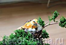 Декор чайного домика, пошаговый мастер-класс, птичка