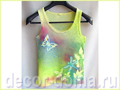 Декор майки текстильными красками-спреями и контурами, мастер-класс