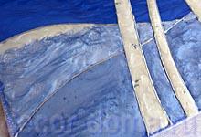 Заливаем контуры сугробов красками-смесью