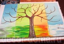 Дерево прорисовано акриловой краской