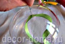 Елочный шар прозрачный, CD-диск, цветочки