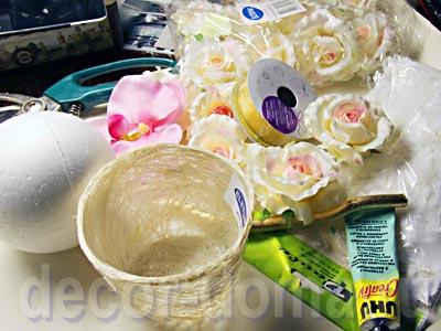 Топиарий свадебный с розами, своими руками, необходимые материалы