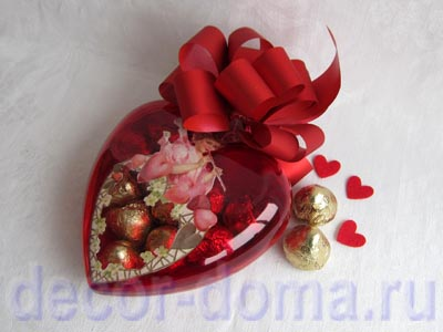 Сердечко прозрачное декор витражной краской