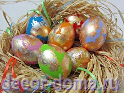 Пасхальные яйца яркие с поталью, пошаговый мастер-класс