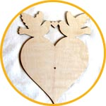 Заготовка для часов сердце и голуби