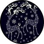 Серебристые олени - наклейки декоретто новогодние