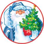 Двухсторонняя наклейка на окно Дед Мороз