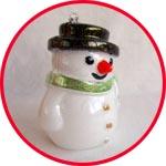 Прозрачный снеговик раскрашенный - игрушка на елку