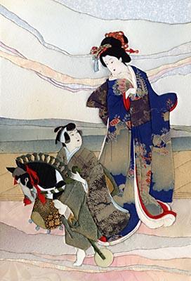 Японская техника кинусайга, панно традиционное
