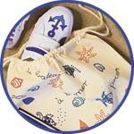 Морской декор текстиля фломастером по ткани
