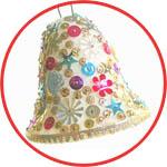Колокольчик из пенопласта - декор новогодней елочной игрушки