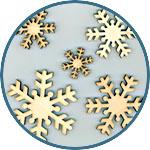 Снежинки декоративные деревянные