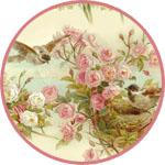 Рисовая декупажная салфетка Птички на цветущих ветках
