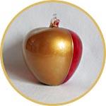 Яблоко из прозрачного пластика, с золочением и красным гелевым лаком